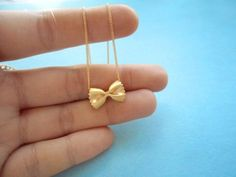 Cute, Pasta Necklace, Farfalle, Gold Necklace | simplecrystal - Jewelry on ArtFire