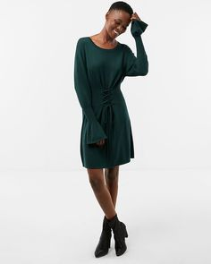 Corset Waist Sweater Dress