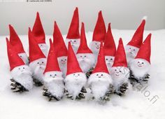 Ornaments Pine Cone Gnomes Elves -- set of 3 - Her Crochet Christmas Decorations For Kids, Pine Cone Decorations, Winter Crafts For Kids, Christmas Activities, Christmas Projects, Kids Christmas, Christmas Cards, Christmas Ornaments, Pine Cone Crafts