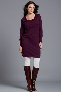 TARA sweater dress, Aubergine