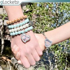 gLockets - glass locket bracelets with family birthstone charms.