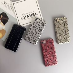 Fashion Geometric lattice PU case for iphone 7 lines grid PU Leather +Hard PC Case for iphone 6 7 back cover Pc Cases, Iphone 7 Plus Cases, Iphone 5s, 7 Line, Pu Leather, Grid, Cover, Issey Miyake, Japan