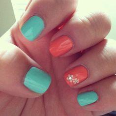 Ideas for nails shellac ideas summer color combos - Summer Nail Colors Ideen Beach Nail Designs, Nail Designs Spring, Cool Nail Designs, Coral Nails, Red Nails, Hair And Nails, Coral Pink, Bright Summer Nails, Spring Nails
