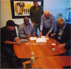 Kobe Bryant Posts Picture of Contract Extension Signing on Instagram