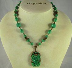 Vintage Czech Max Neiger Molded Jade Green Peking Glass Bead Floral Necklace | eBay
