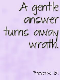 A gentle answer turns away wrath. Proverbs 15:1 #Scripture