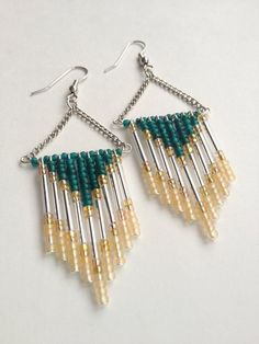 Teal+and+Silver+Chevron+Beaded+Earrings+by+OliveTreeHandmade,+$23.00