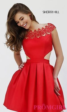 Red Cap Sleeve Cocktail Dress by Sherri Hill 9756 at PromGirl.com