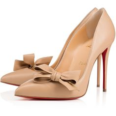 Madame Menodo 100 Nude 1 Leather - Women Shoes - Christian Louboutin ($895) ❤ liked on Polyvore featuring shoes, pumps, christian louboutin, louboutin, pointed toe pumps, leather pointed toe pumps, christian louboutin shoes, pointy toe pumps and nude shoes