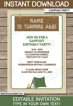 Camping out birthday campout invitation camping camp out invite camping party invitations camping birthday party theme editable diy template 750 instant download filmwisefo