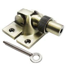 Locking Brighton Sash Fastener - Antique Brass