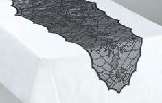 Black lace table runner Black Lace Table, Lace Table Runners, Samhain, Fall Halloween