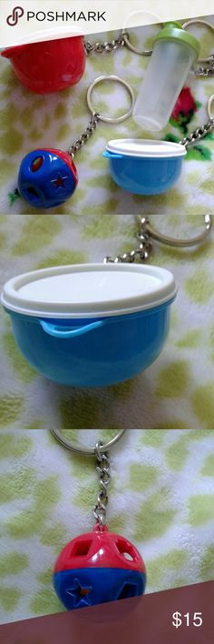 Set of Tupperware keychains These are so cute and are tiny versions of real Tupper. Thet all open but the toy ball. The toy rattles because it has a little puzzle piece inside. They all look new and in great condition. Tupperware Other