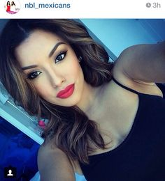 Love her make up. Latina make up. Red lips