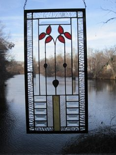 Cottage Style Bevelled Stained Glass Panel. $190.00, via Etsy.