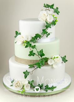 Soft Sage Green and Hessian Wedding Cake with Roses and Ivy.