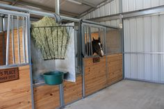 Swing-out feeders make it easy for horse owners to prepare feedings in advance. In the event they are away and having someone else care for their horses the help can simply swing each feeder inside the stall to provide feed and hay for each stall.