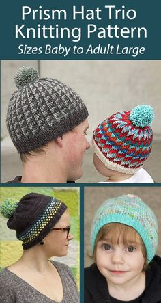 Hat Knitting Patterns Prism Hat Trio Sizes Baby, Child, Adult 3 easy colorwork hats including Triangles, Dots, and Stripes. Sizing: baby (toddler, child, adult SM, adult L). DK weight yarn. Designed by Tin Can Knits Beanie Knitting Patterns Free, Knitting Designs, Knitting Projects, Knitted Hats, Crochet Hats, Aran Weight Yarn, Quick Knits, Chunky Yarn, Garter Stitch