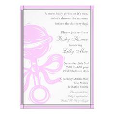 Baby Girl Rattle Baby Shower Invitation