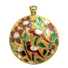 Fashioned in a Mughal style, the pendant is set with rose-cut diamonds, rubies and green foil-backed beryl while the reverse is beautifully embellished with multi-colored enamel. Jewelry Design Earrings, Red Jewelry, Enamel Jewelry, Indian Jewelry, Jewelry Necklaces, Royal Jewelry, Antique Necklace, Antique Jewelry, Vintage Jewelry