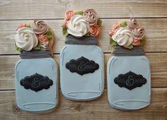Handmade and Decorated Mason Jar Sugar Cookies by FlourishCakes on Etsy.com