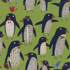 blue penguin canvas fabric by Nancy Wolff Kokka - Animal Fabric - Fabric - kawaii shop Newspaper Art, Penguin Art, Winter Art Projects, Kindergarten Art, Animal Crafts, Art Plastique, Art Activities, Elementary Art, Teaching Art