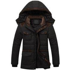 Winter Jacket Men Thicken Warm Outwear Overcoat Plus Velvet Cotton Long Coats Mens Hat Detachable Jackets Windbreaker Parka Mens Winter Coat, Winter Jackets, Winter Coats, Warm Jackets, Winter Parka, Hooded Trench Coat, Zara, Hats For Men, Jeans