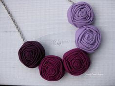 Ombré Fabric Necklace Handmade Necklace Rosette by SweetCamiJayne
