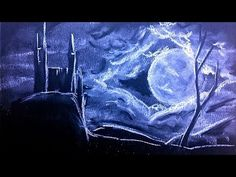 Drawing a Dark Night whith white chalk over dark blue paper #art #drawing - YouTube