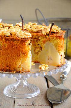 Gâteau moelleux et léger aux poires, vanille et  Noix « caramélisées » au sirop d'agave Marie Chioca