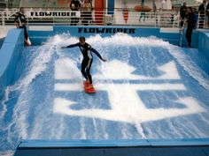 Royal Caribbean Flowrider Surf Simulator now found on many ships in the Voyager, Freedom and Oasis Class ships.  Do you have a #teen that will want to do this?