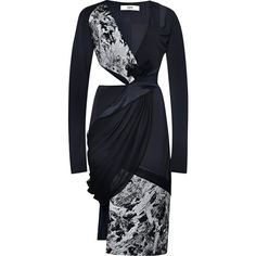 Prabal Gurung Matte Jersey Cut-Out Dress With Draped Chiffon Detail ($2,895) found on Polyvore featuring women's fashion, dresses, matte jersey wrap dress, cutout dresses, chiffon wrap dress, prabal gurung dress and draped dresses