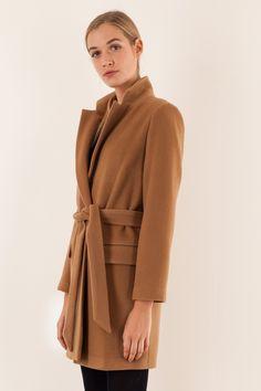 Cappotto cammello con cintura Abbigliamento Donna Made in Italy