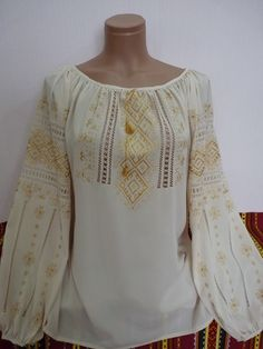 "Женская вышиванка ""Крем-кофе"" Peasant Blouse, Peasant Tops, Tunic Tops, Mexican Blouse, Beautiful Suit, Mode Boho, Embroidered Clothes, Traditional Outfits, Dress Collection"