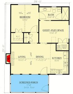 Plan Compact And Versatile 1 To 2 Bedroom House Plan Small House Floor Plans, Cabin Floor Plans, Barn House Plans, The Plan, How To Plan, 2 Bedroom House Plans, Tiny House 2 Bedroom, Tiny House Cabin, Cottage House Plans