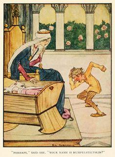 """Rie Cramer ~ ~ Rumpelstiltskin dei fratelli Grimm Fairy Tales ~ ~ 1927 tramite """"Forse,"""" disse, """"Il tuo nome è Tremotino?"""""""