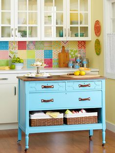Turn a dresser into a kitchen island in a few simple steps. Look for a dresser that's about 36 inches tall, or add casters for height. Finish as desired.  Add decorative hardware.  Replace the bottom drawer with baskets.