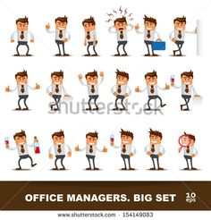 Set of Happy office man. Vector illustration by Alekksall, via Shutterstock