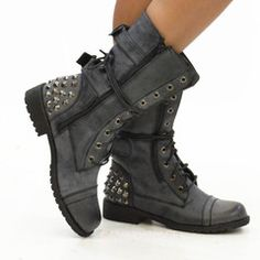 Georgia 28 Black Studded Lace-Up Combat Boots | Combat boot and ...