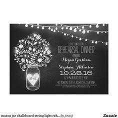 mason jar chalkboard string light rehearsal dinner 5x7 paper invitation card