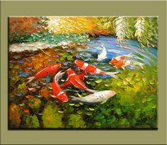 original painting,hand oil painting,impasto,hand oil on canvas,framed,ready to hang,huge 30''x40'' palette knife painting koi fish-OR34