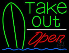Green Take Out Bar Open Neon Sign 24 Tall x 31 Wide x 3 Deep, is 100% Handcrafted with Real Glass Tube Neon Sign. !!! Made in USA !!!  Colors on the sign are White, Blue, Green And Red. Green Take Out Bar Open Neon Sign is high impact, eye catching, real glass tube neon sign. This characteristic glow can attract customers like nothing else, virtually burning your identity into the minds of potential and future customers.