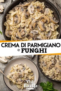 Farfalle con funghi e crema di parmigiano Parmesan, Salsa Italiana, Healthy Dinner Recipes, Vegetarian Recipes, Menu, How To Cook Pasta, Pasta Recipes, Italian Recipes, Good Food