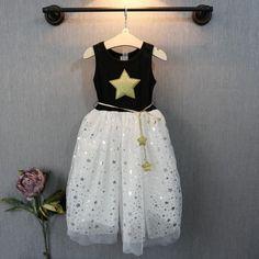 Princess Kid Girls Dress Stars Printed Sequins Tulle Bowknot Summer Tutu Dress