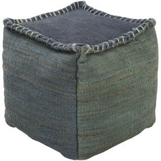 A thick stitch exposed seam adds character to this Provincial Blue Slate jute pouf ottoman. Square pouf ottoman from Surya's stylish line of poufs. Style # at Lamps Plus. Pouf Ottoman, Ottoman Table, Bliss Home And Design, Square Pouf, Leather Pouf, Tonga, Accent Furniture, Gray Furniture, Studio
