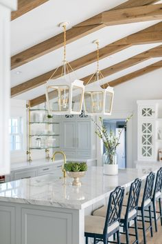 So excited to finish this latest project. Thanks to all involved ! Ranch Homes For Sale, Statuario Marble, Modern Industrial Decor, Sideboard Table, Grey Kitchen Designs, Accent Wall Colors, California Ranch, Concrete Fireplace, Kitchen Cabinet Styles