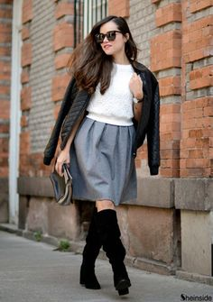 grey midi skirt/winter