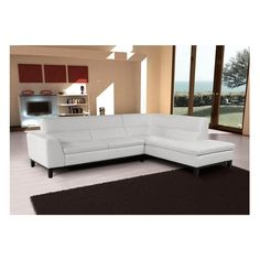 2-Piece Leather Sectional in Pure White | Nebraska Furniture Mart