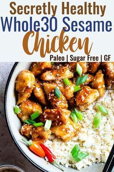 Easy Sesame Chicken -This paleo friendly and sugar/grain/dairy and gluten freeCRISPY Sesame Chicken tastes just like takeout but is SO much better for you! Aquick dinner that the whole family will love! Healthy Sesame Chicken, Paleo Chicken Recipes, Paleo Recipes Easy, Chicken Meals, Crockpot Recipes, Clean Eating Chicken, Clean Eating Dinner, Clean Eating Recipes, Easy Whole 30 Recipes