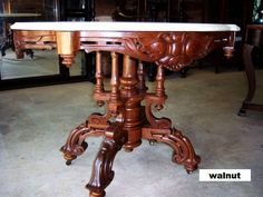 Walnut Victorian Center Table,Turtle Shaped Marble Top  c.1850-1860